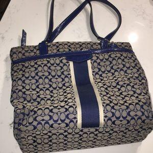 Coach purse. Tan and navy